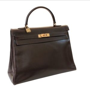 Hermes Box Leather Kelly Bag 35cm Sac a Depeches
